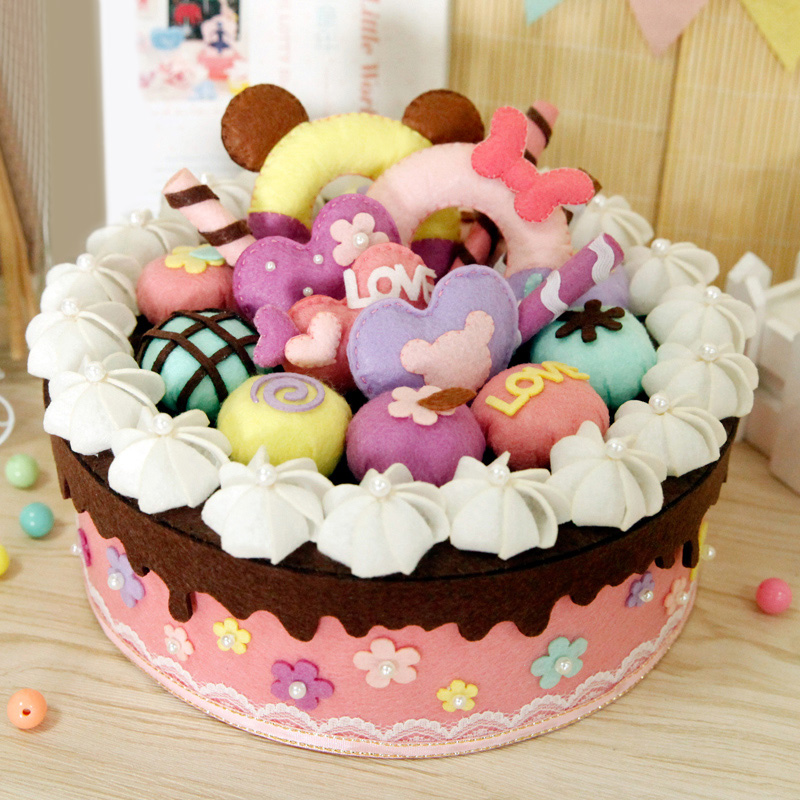 Cucito arte felt cloth storage box torta di compleanno per for Torta di compleanno per bambini