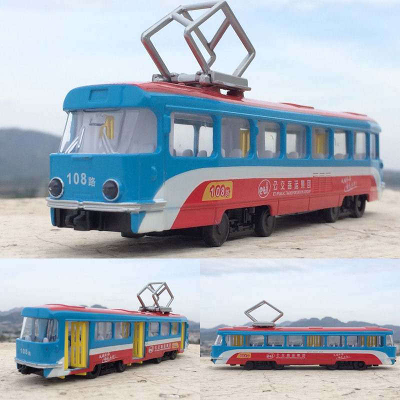 High Simulation Travel Car,1:32 Scale Alloy Pull Classical Tram Model,Central City Tram Bus,free Shipping
