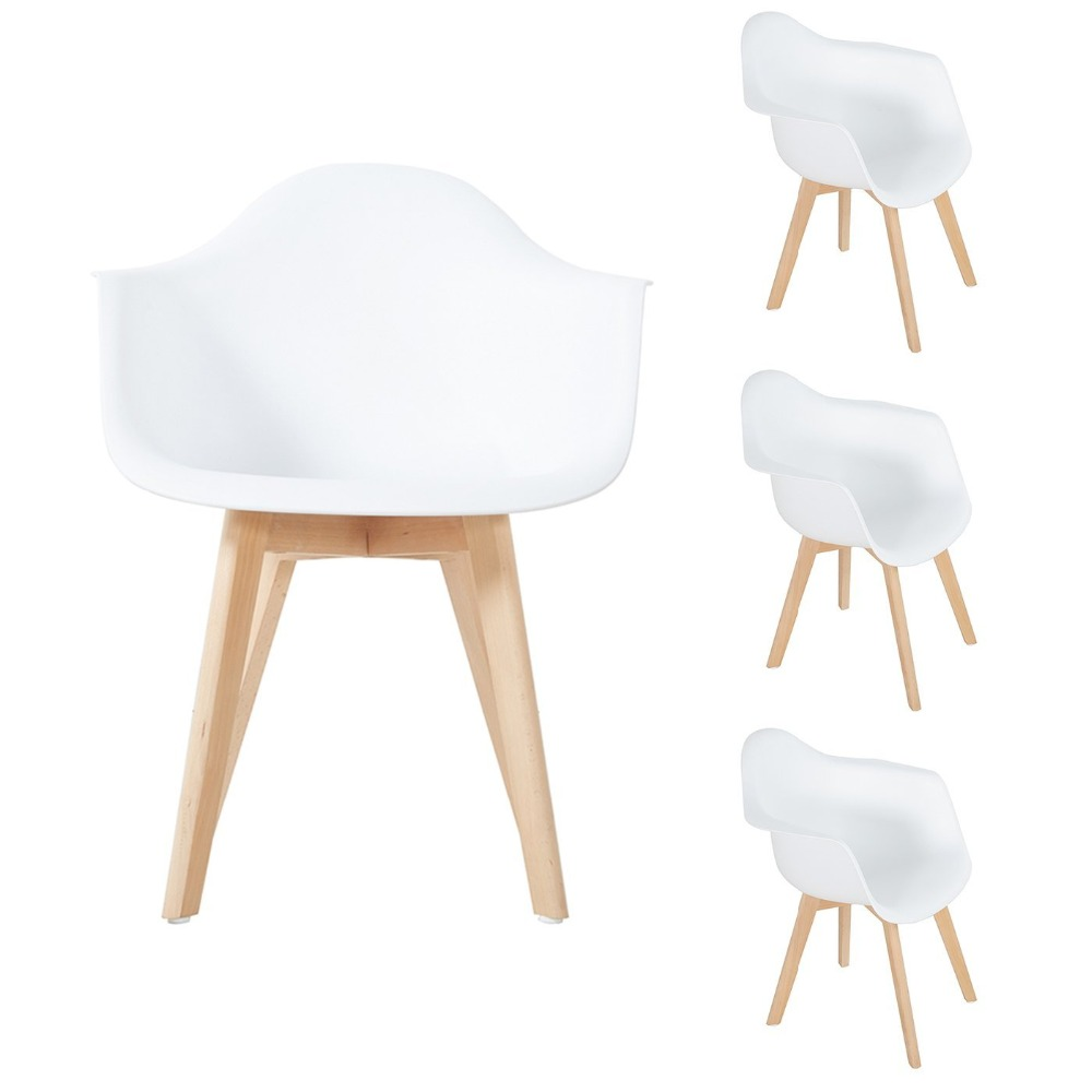 EGGREE Plastic Dining Chair Set of 4, Kitchen Armchairs with Solid Beech Wood Legs White fundamentals of physics extended 9th edition international student version with wileyplus set