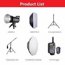Free DHL 1200W Godox SK400 3x 400W Photo Studio Flash Lighting,Softbox,Light Stand, Studio Boom Arm Top Light Stand CD15