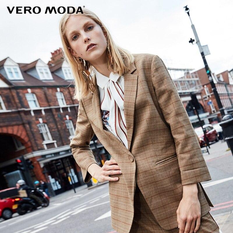 Vero Moda Three-quarter  Sleeves Plaid Long Jacket Blazer | 318308518