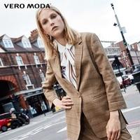 Vero Moda three quarter Sleeves Plaid Long Jacket Blazer | 318308518