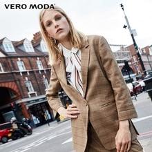 Vero moda 일곱 sleeve 체크 무늬 롱 자켓 블레이저