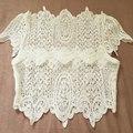 Top Safra de verão Preto Elegante Lace Crochet Tops Meninas de Manga Curta Blusa Branca Mulheres Sexy Oco Out Regatas Y55