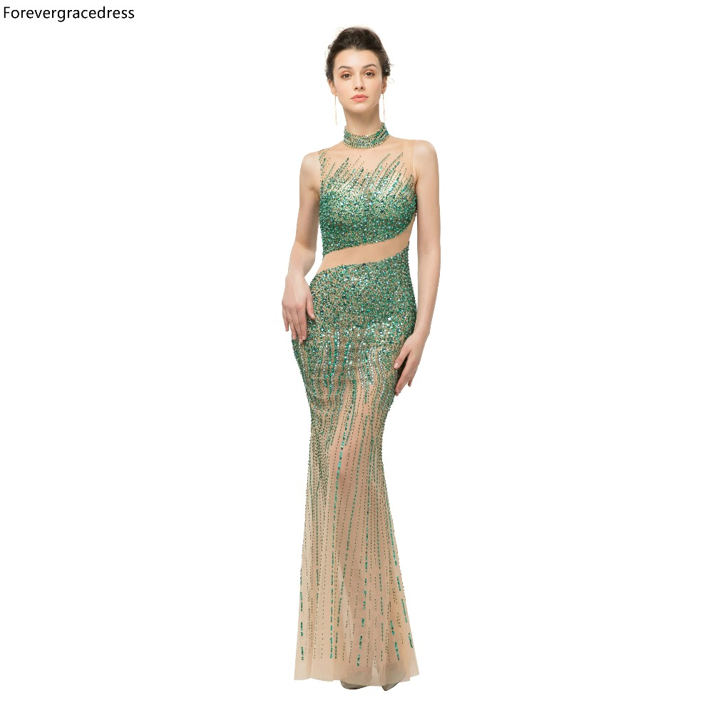 Forevergracedress Luxury Beading   Prom     Dresses   2019 New Arrival High Neck Tulle Party Gowns Plus Size Custom Made