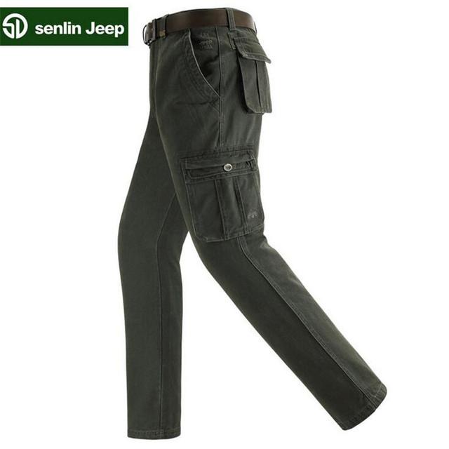 SenLin AFS JEEP hombres Pantalones Cargo Cálida leisurecotton Holgados Pantalones de Algodón Pantalones Para Hombres de Camuflaje Militar Táctico
