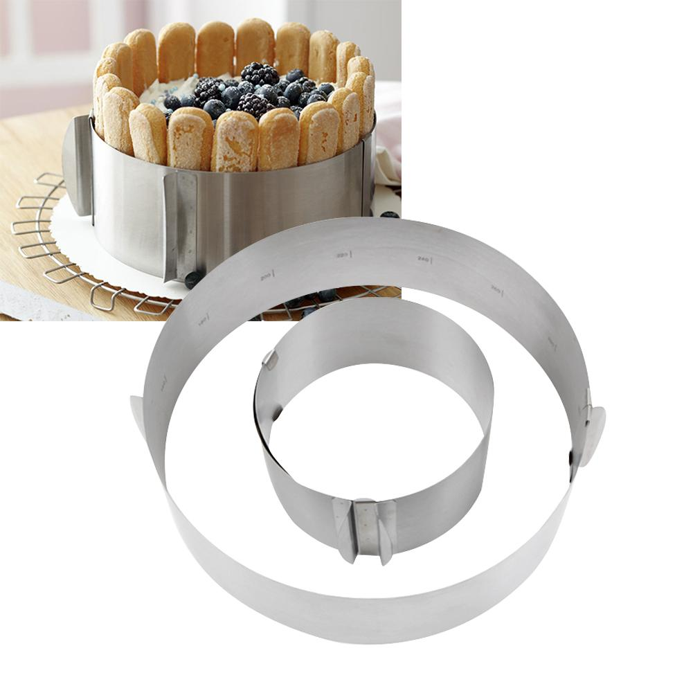 Hot Sale 1 Pc Retractable Stainless Steel Circle Mousse Ring Baking Tool Set Cake Mould Mold Size Adjustable Bakeware 16-30cm
