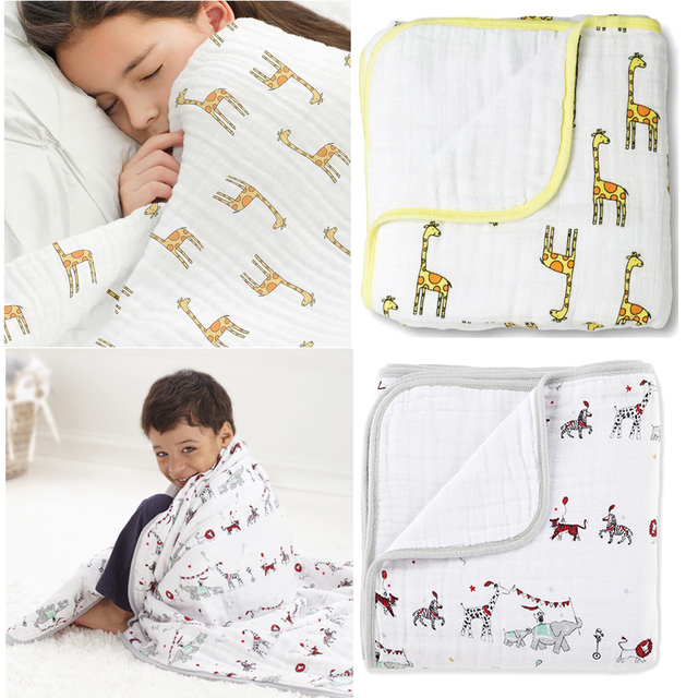 Aden Anais Newborn Thick 2 Layers Muslin Cotton Blanket Swaddleing Infant Cotton Bedding Sheet Muslin Travel Blanket for Babies