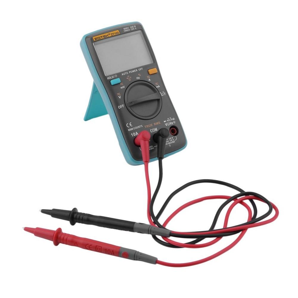 ZT102 Digital Multimeter 6000 Counts Backlight AC/DC Meter Ammeter Voltmeter Low Voltage Indication Portable Meter
