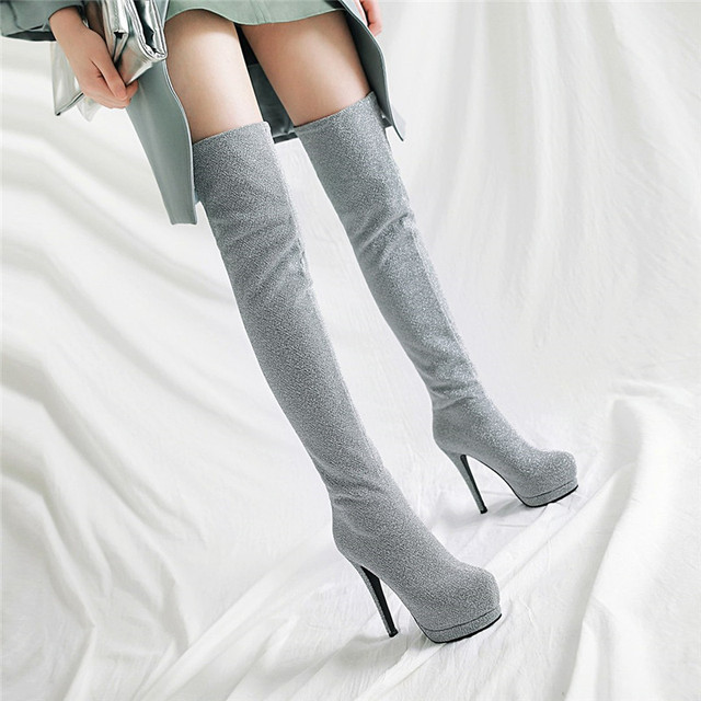 YMECHIC Fashion Long Ridding Platform Stocking Boots Glitter Stretch Bling  Tight High Heel Over The Knee 3357bed5ef89