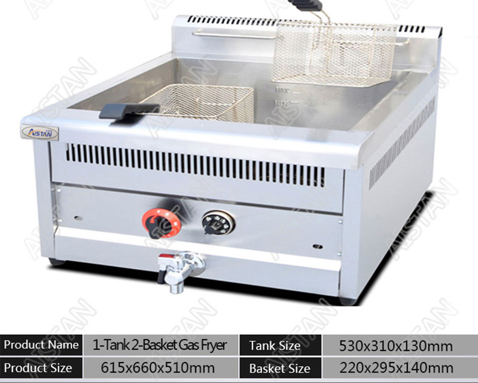 GF71A/GF72A/GF73A commercial counter top stainless steel big volume lpg gas chicken deep fryer machine with basket 16