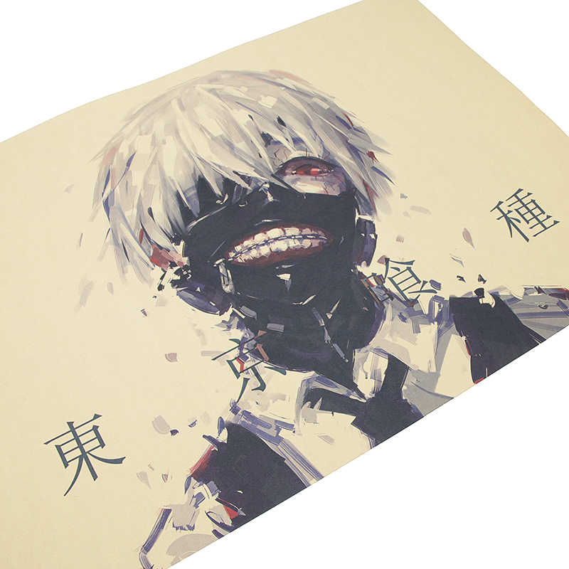 DLKKLB Tokyo Ghoul Classic 51.5x36cm Vintage Animation Poster Retro Kraft Paper Dorm College Student Wall Sticker Decor Painting