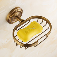 Free shipping New Durable Bathroom Accessories Soap Dish Wall Mounted Copper Brass Classic Retro Soap Holder Soap Basket ZR2600