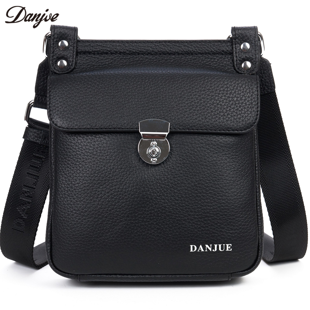 DANJUE Genuine Leather Men Messenger Bags Small Casual Zipper Male Bag High Quality Shoulder Bag Brand Casual Crossbody Bag dongfang miracle high quality genuine leather men messenger bags casual shoulder bag male multifuntional small bag
