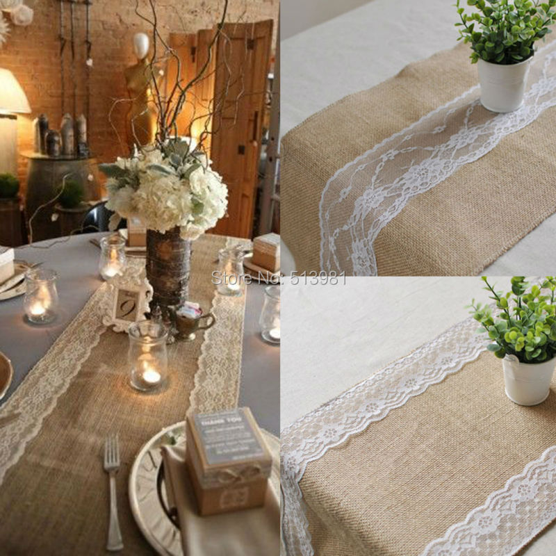 5pcs/lot,30x275cm Burlap Lace Hessian Table Runner Jute Country Outdoor  Wedding Party Decor