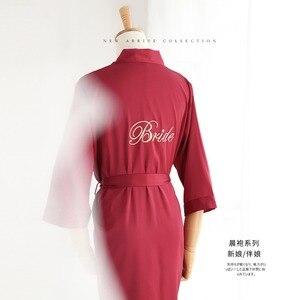 Image 4 - JRMISSLI własne logo satynowa drużyna panna młoda szata kobiety Kimono druhna ślubna szaty szlafrok kobiece jedwabne suknie bielizna nocna