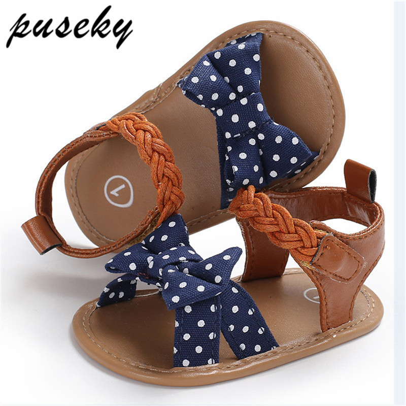 Puseky Baby Girl Sandals Baby Shoes Summer Cotton Canvas Dotted Bow Baby Girl Sandals Newborn Baby Shoes Playtoday Beach Sandals