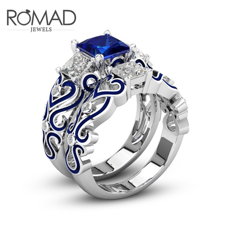 Romad New Blue Square Crystal Engagement/Wedings Rings for Women men rings Birthday Stone Gift Ring Jewelry Size 5 R4 ...