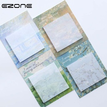 EZONE Oil Painting Sticky Notes Printed Cute Creative Prunus/Field Memo Pad Self-Adhesive Papers Bookmark Office School Supply