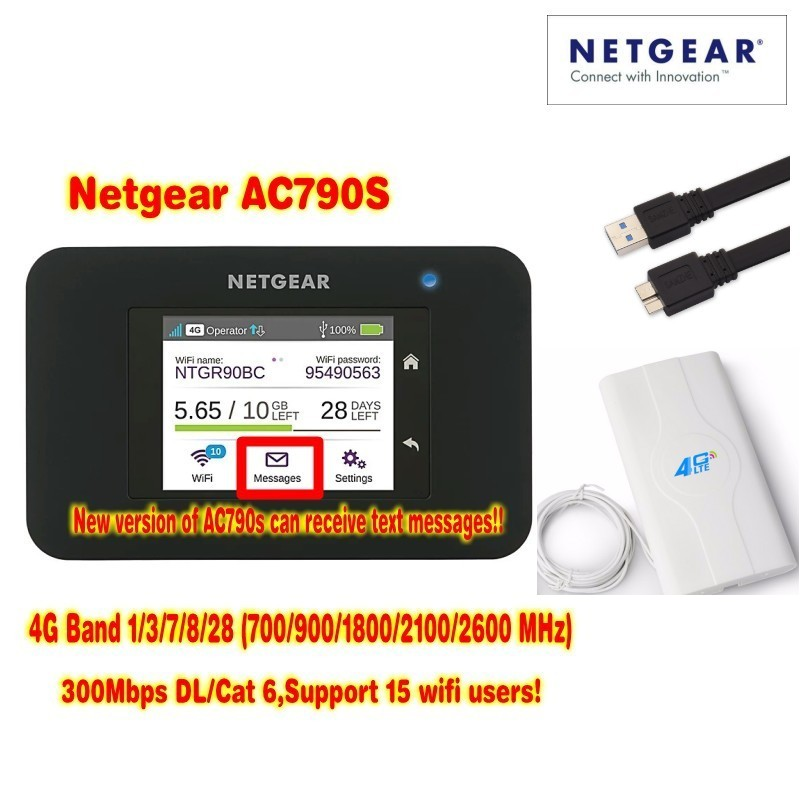 Lot of 10pcs Unlocked Aircard AC790s 4G Mobile Hotspot Sierra Wireless LTE CAT6 300M Portable WiFi Router plus 49dbi 4g antenna корпус corsair obsidian series 350d window cc 9011029 ww page 5