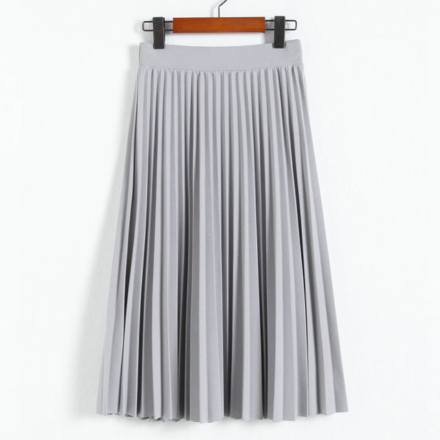New Fashion High Waist Pleated Solid Color Half Length Elastic Skirt Promotions 1