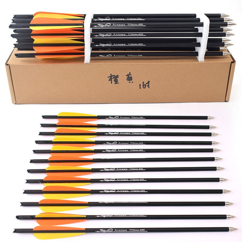 16/20 Inch Orange yellow feather High Quality Spine 400 Carbon Arrow Used For Crossbow Bow Hunting Shooting