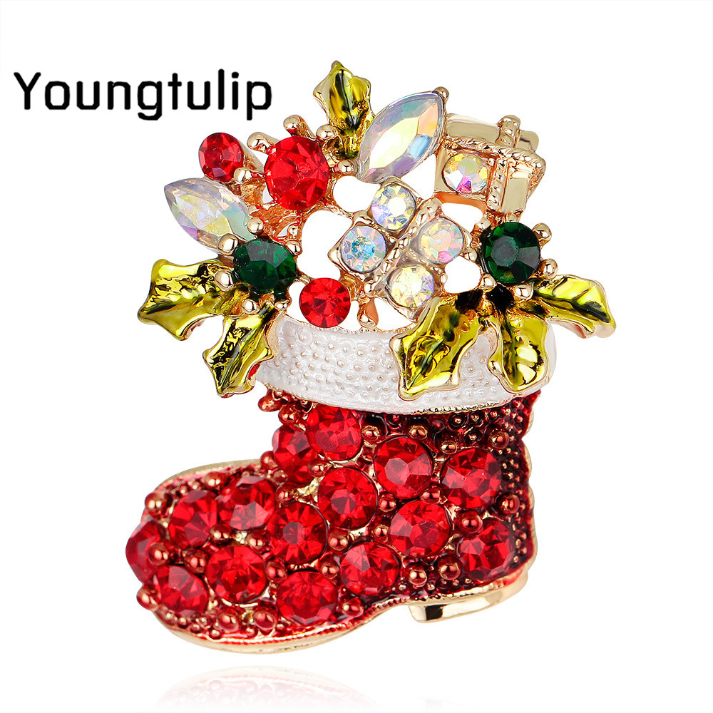 Young Tulip 2018 Christmas Crystal Boots Pin Brooches Fashion Jewelry for Adults and Children Coat Sweater Accessories Hot Sale