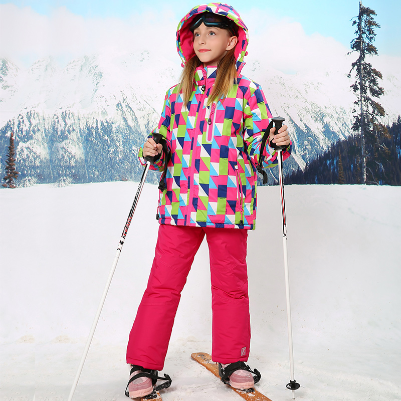 Winter Warm Girls Coat and Trousers Ski Suit -30 Degree Windproof Child Outerwear Sport Suit Waterproof Girls Kids Clothing Set