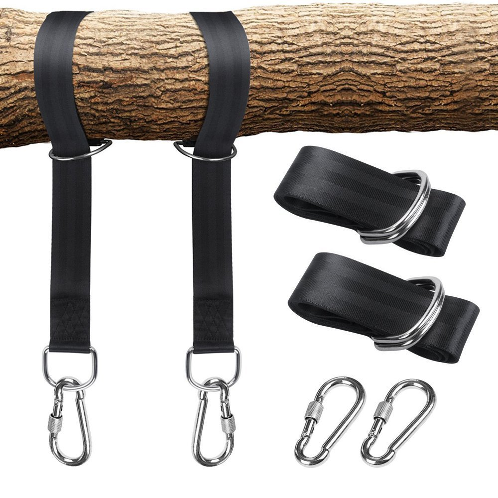 One Pair Tree Swing Hanging Kit Hammock Straps Rope Carabiner 350 KG Load Capacity OutDoor Camping Hiking Hammock Hanging Belt