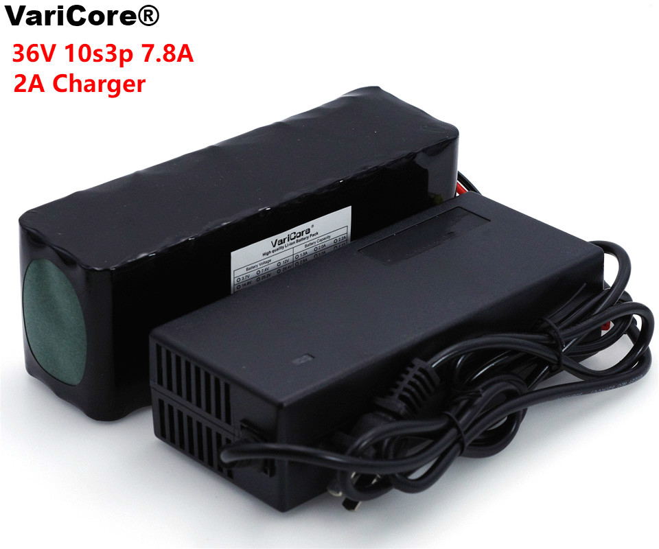 цена на VariCore 36V 7.8Ah 10S3P 18650 Rechargeable battery pack ,modified Bicycles,electric vehicle 36V Protection PCB+2A Charger