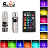 2Pcs 1set 12V LED T10 W5W 5050 SMD 1 2W Auto Car RGB LED Interior Dome