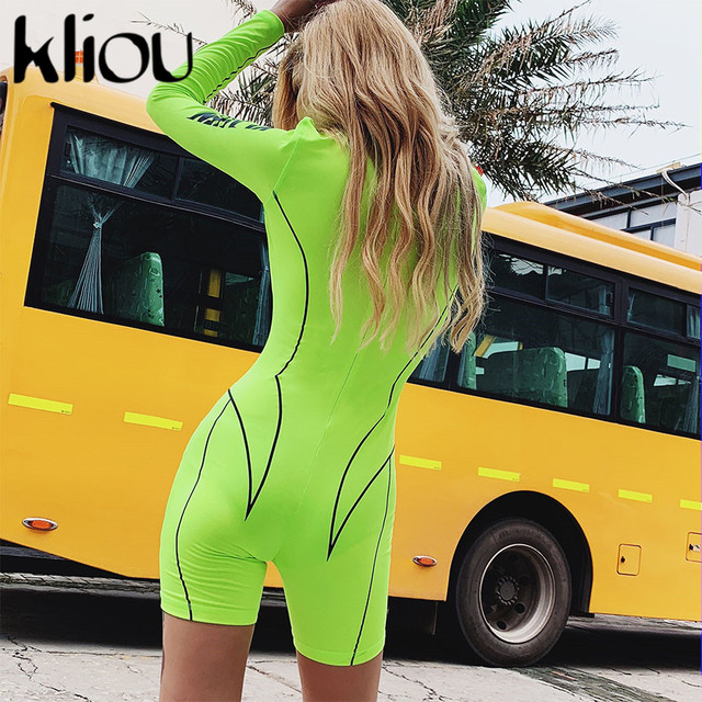 Kliou 2019 new women turtleneck full sleeve fitness playsuit white striped patchwork letter print push up skinny casual bodysuit 89