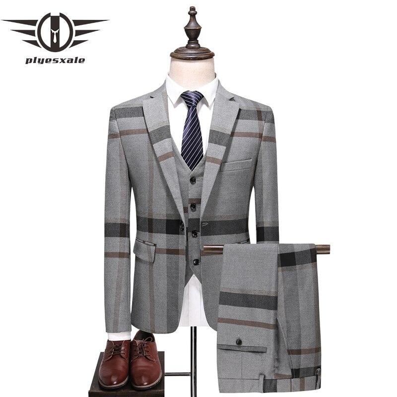 Erkek Kıyafeti'ten T. Elbise'de Plyesxale Mavi Gri Erkekler 2018 Slim Fit Erkek Smokin Düğün takımları Erkekler Için Klasik erkek Takım Elbise Resmi Ceket pantolon Yelek Q385'da  Grup 1