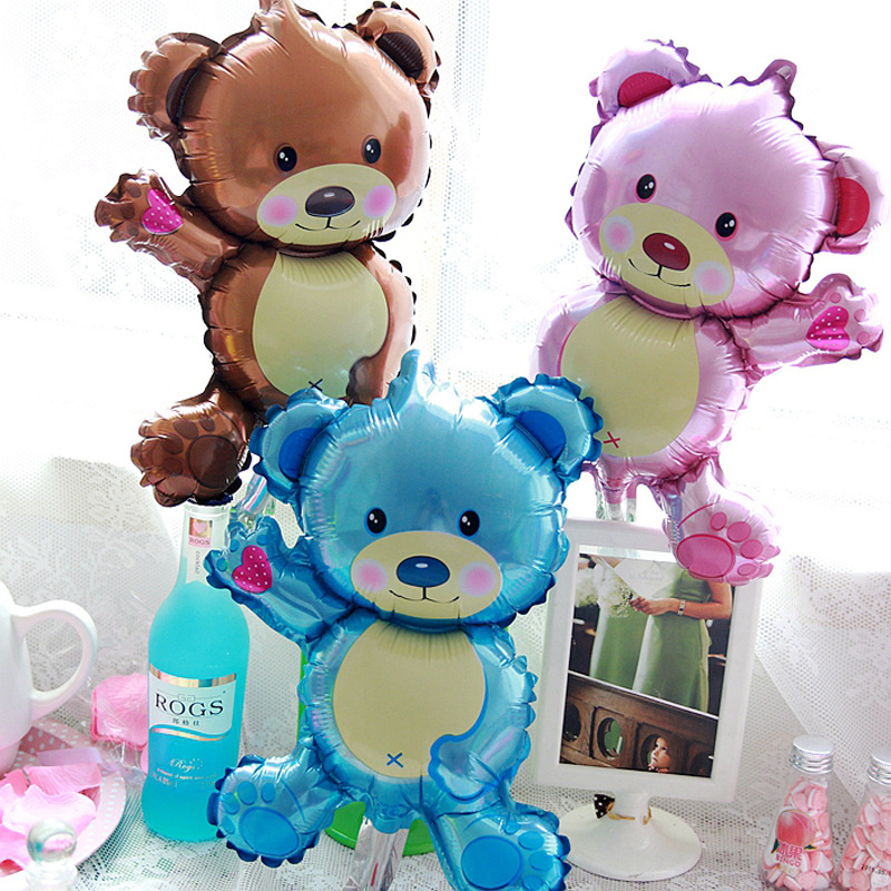 Large 3D Bear foil balloons baby shower decoration helium balloon happy birthday balloons Inflatable Toy air ball party suppiles