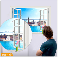 3D Window View Blue Sea City Resort Castle Villa Beach Landscape 3D Wall Sticker Removable Wallpaper