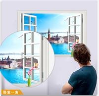 3D Window View Blue Sea City Resort Castle Villa Beach Landscape 3D Wall Sticker Removable Wallpaper