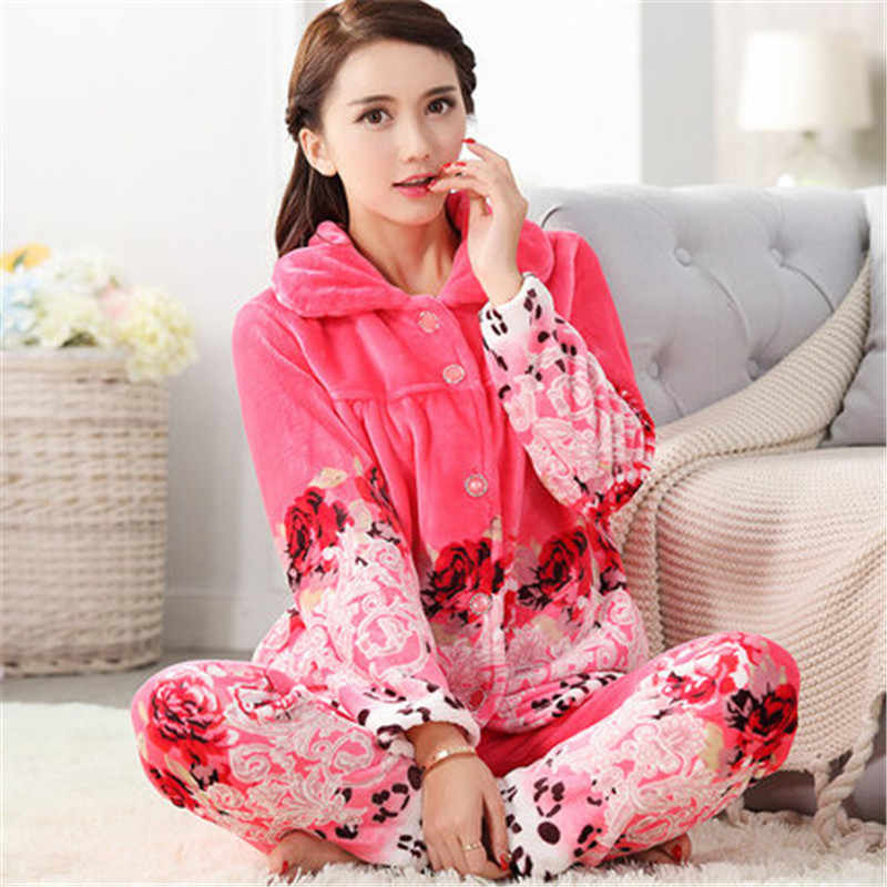 ... Soft Thick Coral Fleece Women Pajamas Winter Lovely Print Floral Flannel  Sleep Suit Warm Long Sleeve ... 7558be423
