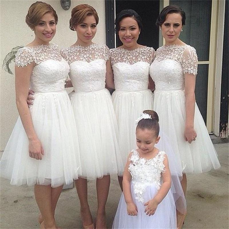 Popular White Lace Bridesmaid Dresses-Buy Cheap White Lace ...