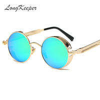 LongKeeper Gothic Sunglasses Men Steampunk Round Metal Frame Sun Glasses Pink Mirror Eyewear Brand Designer High