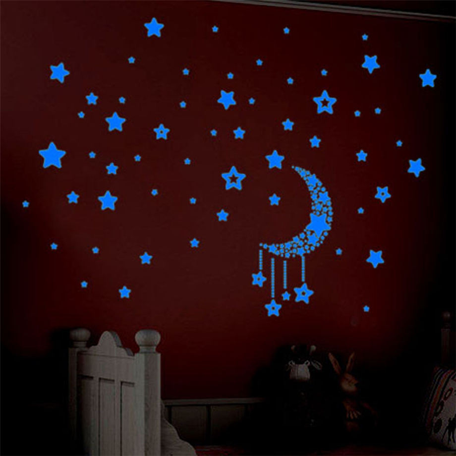 Wallpaper Sticker A Set Kids Bedroom Fluorescent Glow In The Dark Stars Wall Stickers 40*60cm Wallpapers For Living Room B#