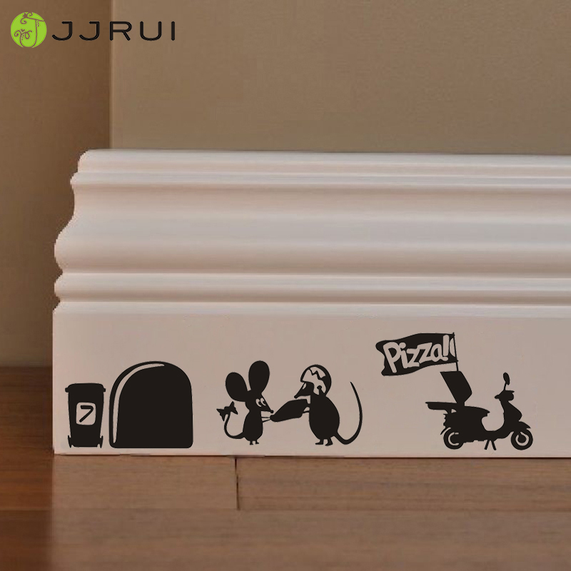 JJRUI Cute Mouse Pizza Man Love Heart funny Home Skirting Board wall art decal stickers de vinilo