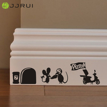 JJRUI Cute Mouse Pizza Man Love Heart funny Home Skirting Board wall art decal vinyl stickers