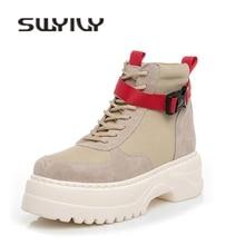 SWYIVY פרה זמש נעליים יומיומיות אישה גבוהה למעלה נשים סניקרס 2019 סתיו אמיתי עור גבירותיי נעל פלטפורמת סניקרס לנשים