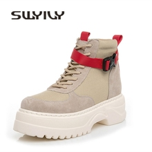 SWYIVY Cow Suede Casual Shoes Woman High Top Women Sneakers 2019 Autumn Genuine Leather Ladies Shoe Platform Sneakers For Women