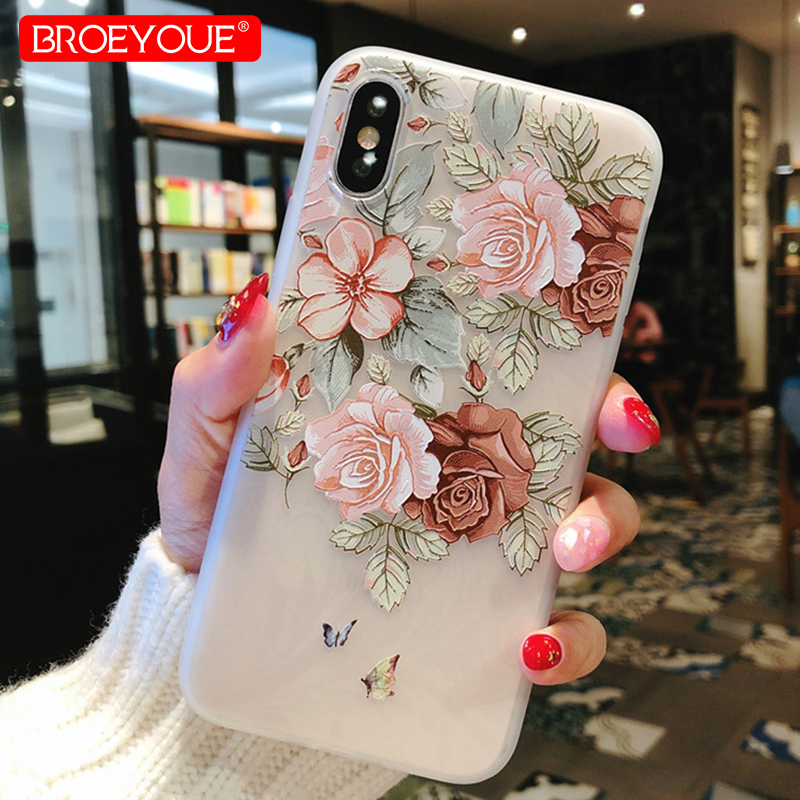 BROEYOUE Case For iPhone 7 Cases Relief Coque For iPhone X SE 5S 6 6S 7 8 Plus Flowers Animal Pattern Silicone Capa Cover Fundas