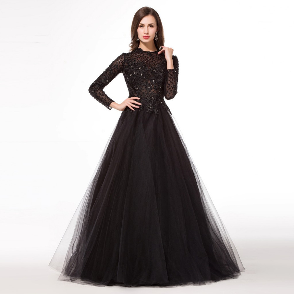Black dress gown - Black Long Sleeve Muslim Evening Dresses 2015 Floor Length Long Evening Prom Dresses Sophisticated Evening Gowns