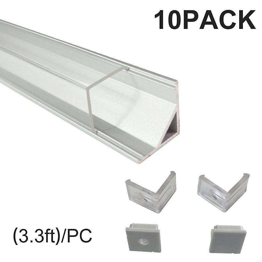 Profilé d'aluminium LED pour barre de LED lumière V Type monture d'angle avec Angle Vertical couvercle transparent embouts et Clips de montage