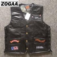 Black Genuine Leather Motorcycle Rider Vest Men Punk Retro Classic Style 14 Patches Motorcycle Jacket Men Vest Clothing