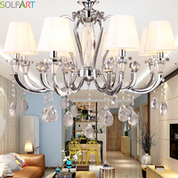 TD8003 GENESIS LIGHTING Chrome Stainless Steel Metal Ivory White Fabric Shade Crystal Chandelier Modern Simple Design