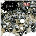Top Quality 1440PCS SS4 1.5-1.6mm Jet Black Crystal Flat Back Non Hotfix 3d Nail Art Decorations Flatback Rhinestones 4SS